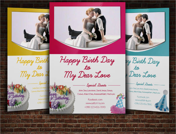 birthday party flyer for couple