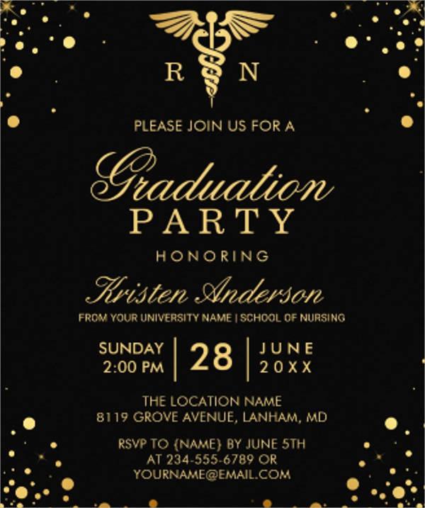 black gold medical nursing school graduation party card