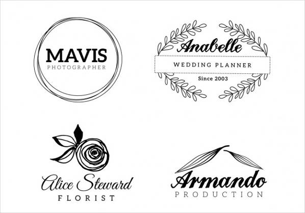 black and white wedding logo