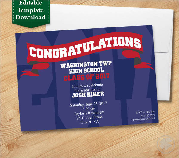 blue and red graduation invitation template