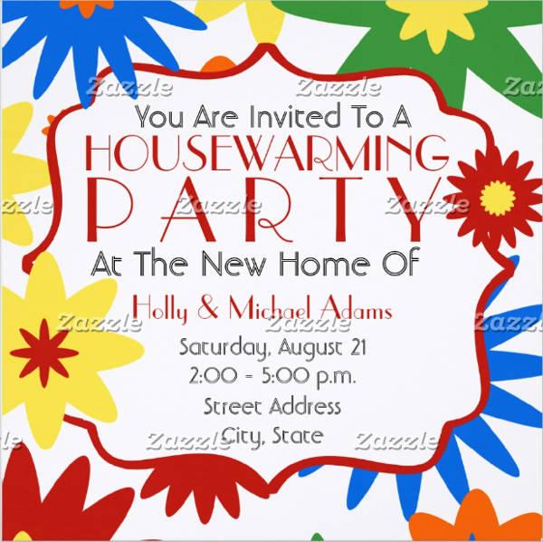 bright flowers housewarming invitation templates