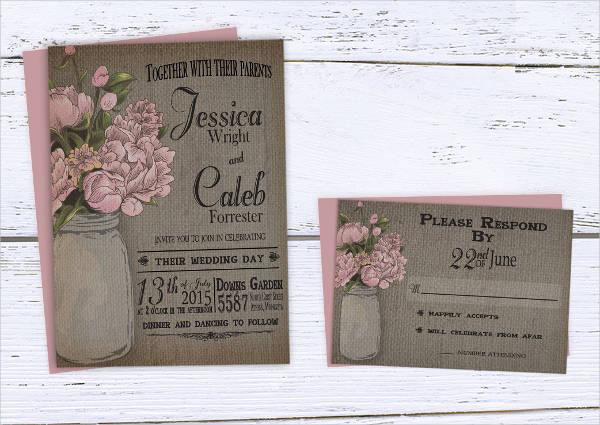 burlap mason jar wedding invitation