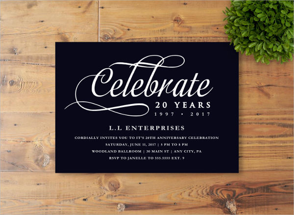 business anniversary invitation cards