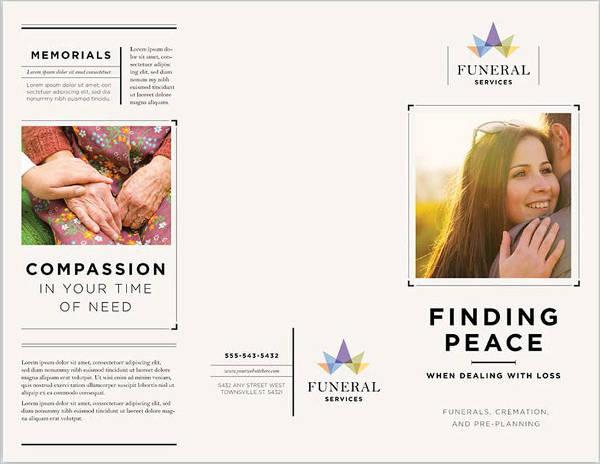 business marketing tri fold funeral brochure template