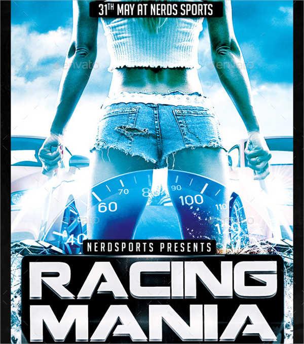 car racing sports flyer template