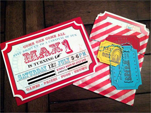carnival birthday party invitation templates