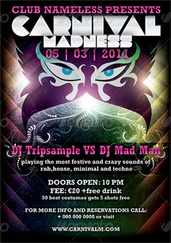 carnival party club flyer