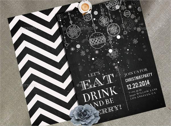 chalkboard christmas party invitation