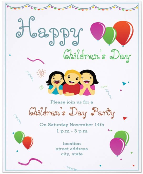 children's day party invitation