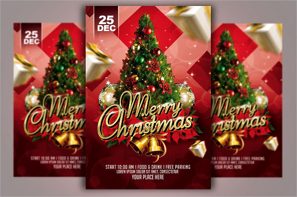 christmas eve party celebration flyer template