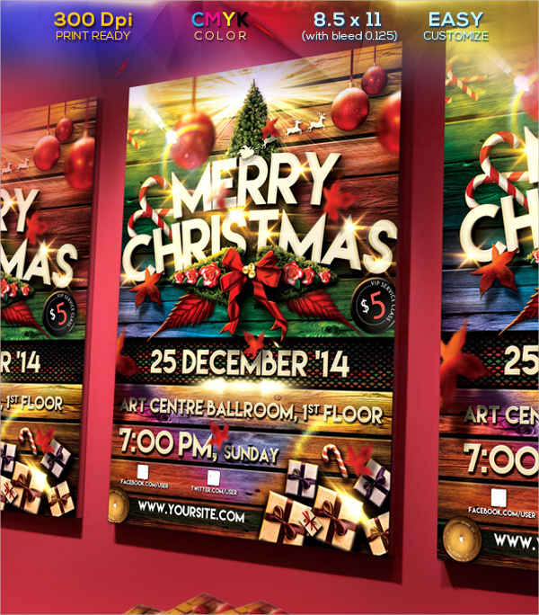 christmas party flyer template download psd