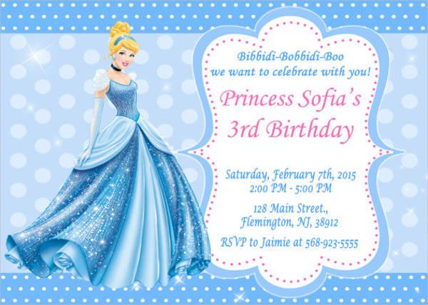cinderella birthday invitation