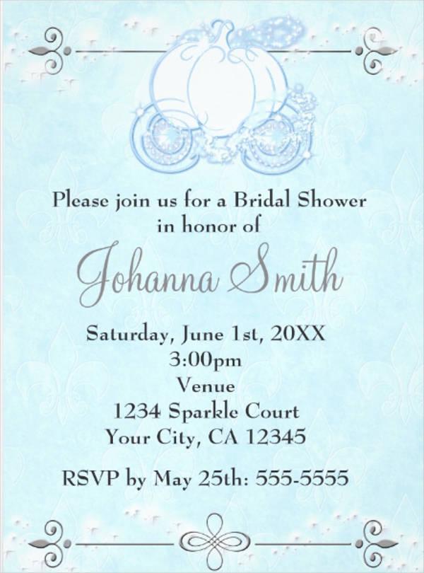 cinderella bridal shower invitation