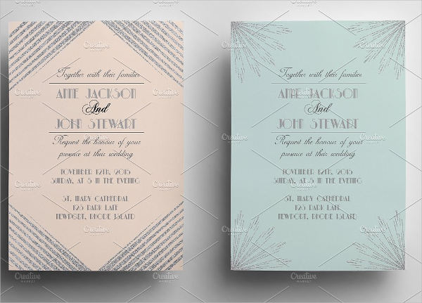 classic art deco wedding invitation