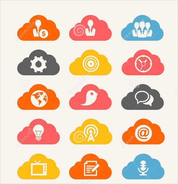 cloud icon set of vectors