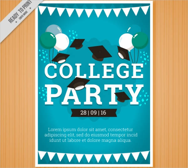 collage party brochure with graduation cap