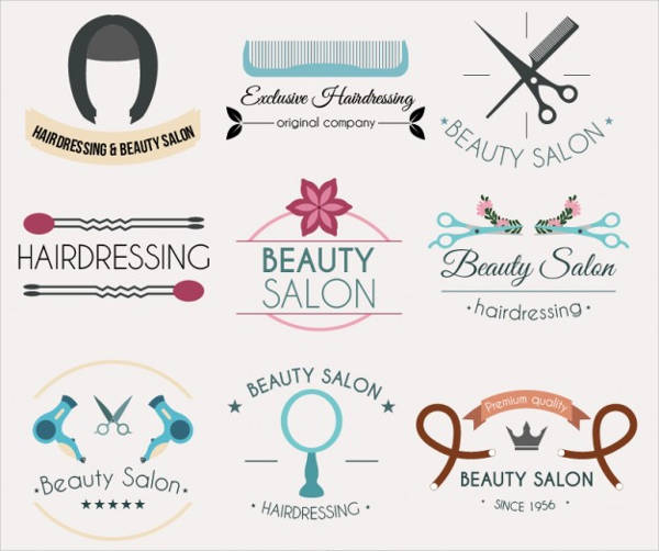 collection of hairdressing logotypes