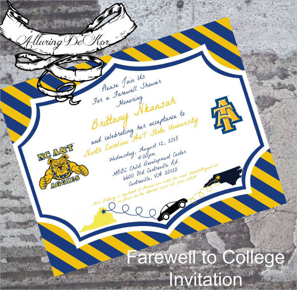 college farewell party invitation templates