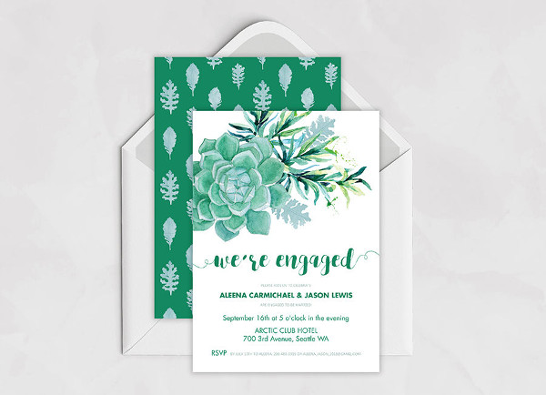 cute engagement invitation template