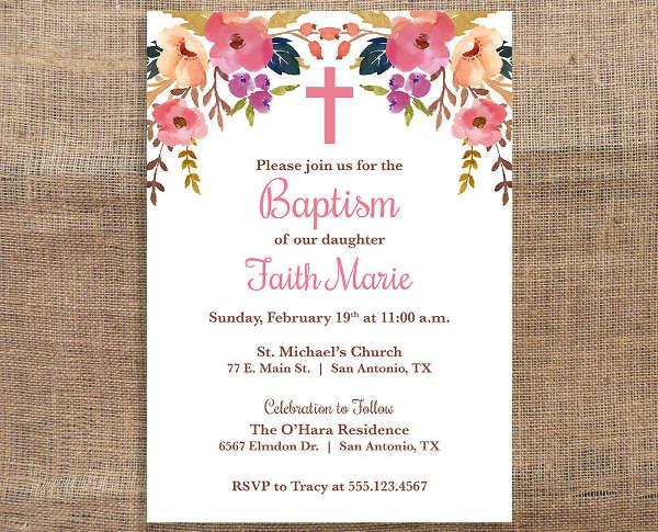 diy baptism invitation template