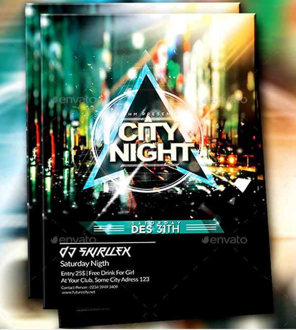 dj guest city futurism flyer design