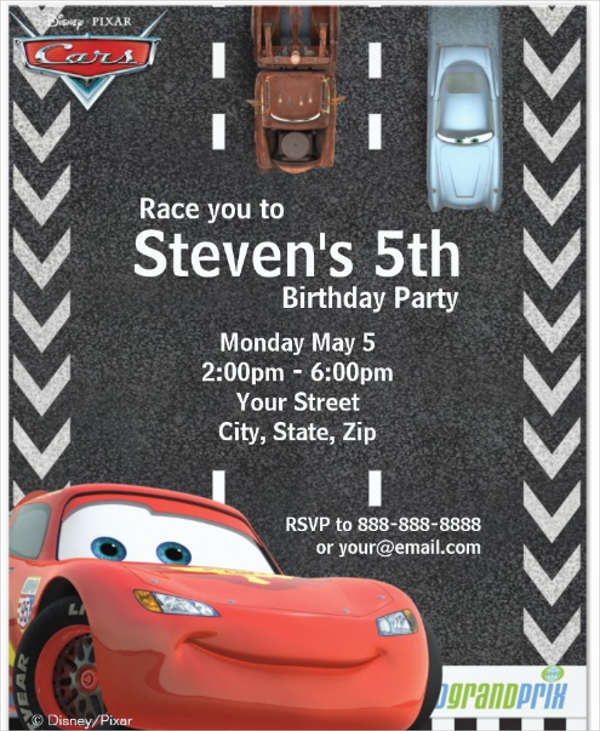 disney cars party invitation template