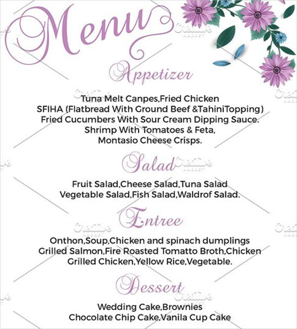 diy wedding menu template