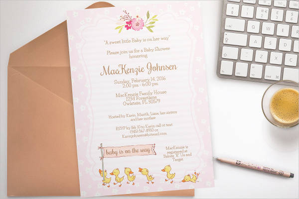 duck print baby shower invitation template