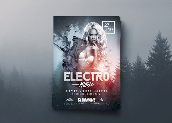 electro music event flyer template