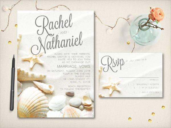 elegant beach wedding invitation