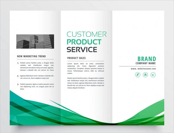 elegant green wave tri fold brochure