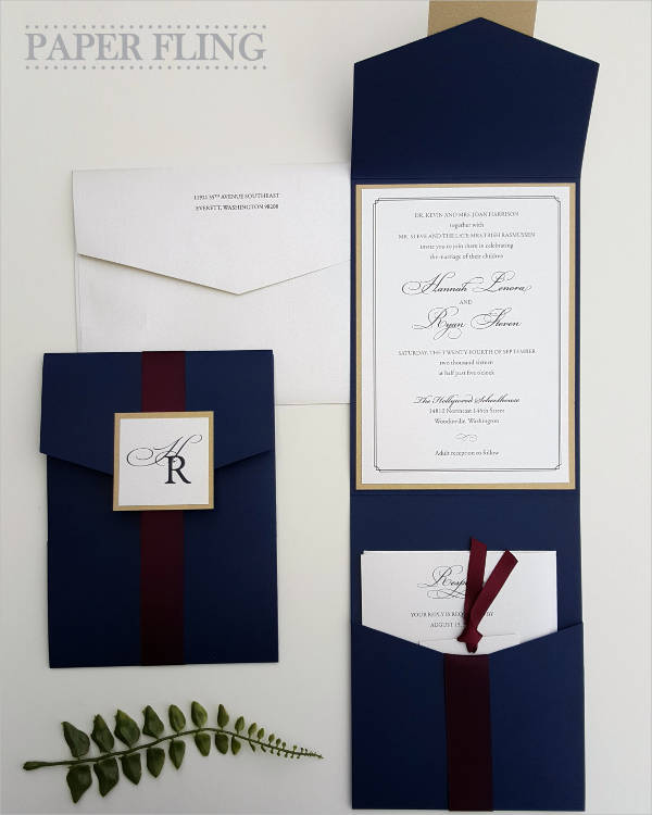 elegant pocket wedding invitation