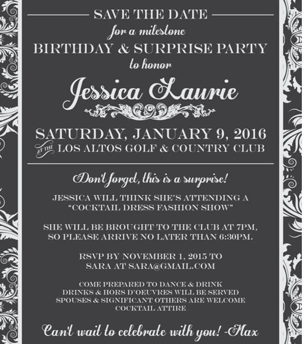 elegant surprise party invitation