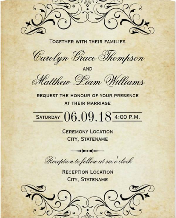 elegant vintage wedding invitation
