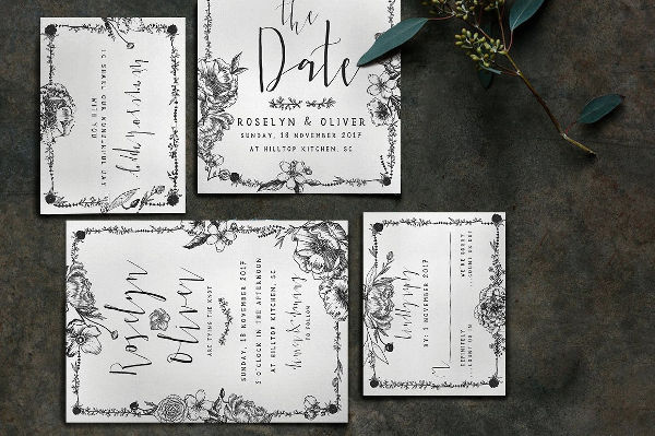 elegant vintage wedding invitation1
