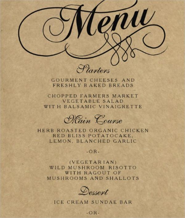 elegant wedding menu template
