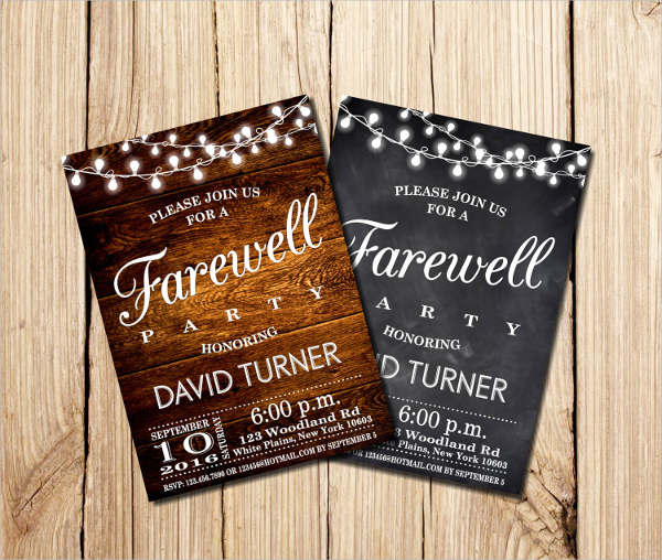 farewell party invitation cards