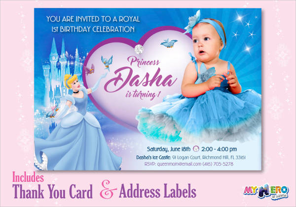 first birthday cinderella invitation