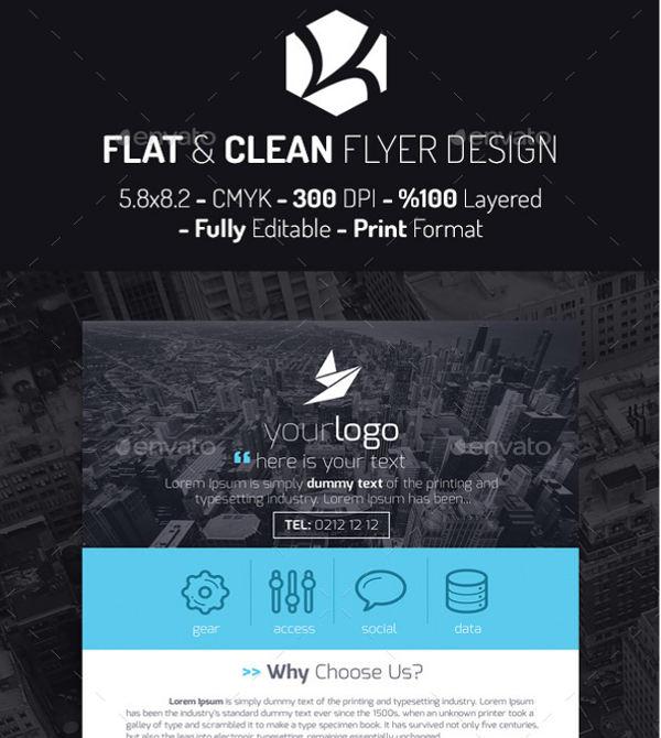 flat design corporate flyer