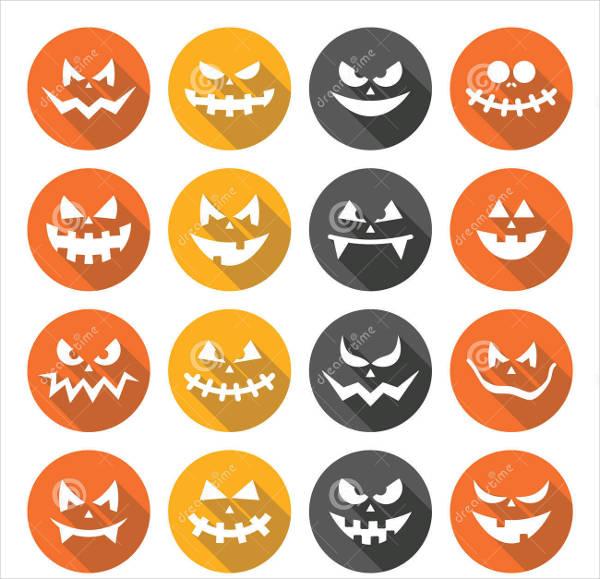 flat halloween vector faces
