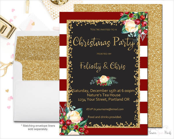 floral christmas party invitation