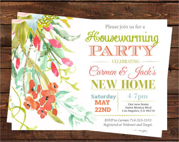 floral housewarming party invitation