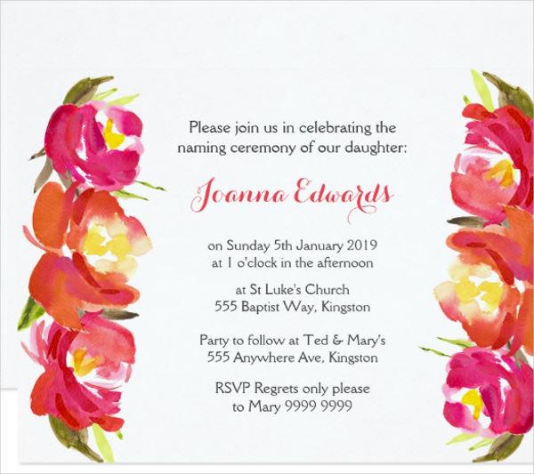 floral naming ceremony invitation
