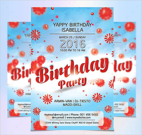 flower design birthday party flyer