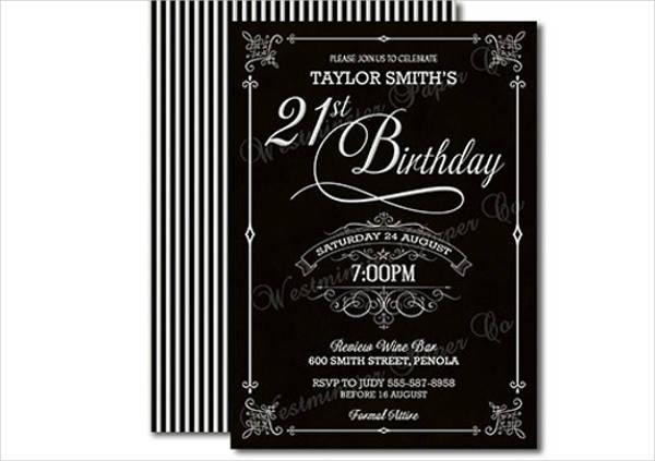 formal 21st birthday invitation