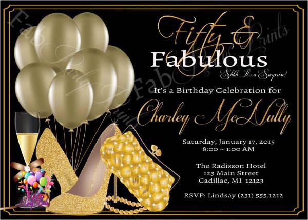 formal 50th birthday invitation