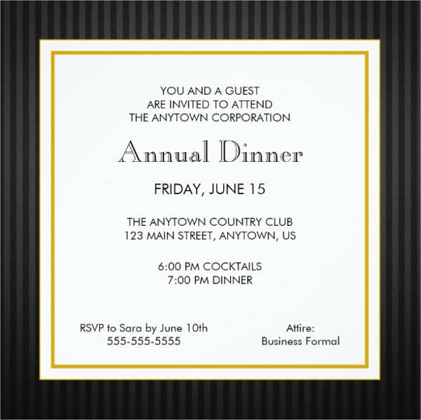 formal business dinner invitation