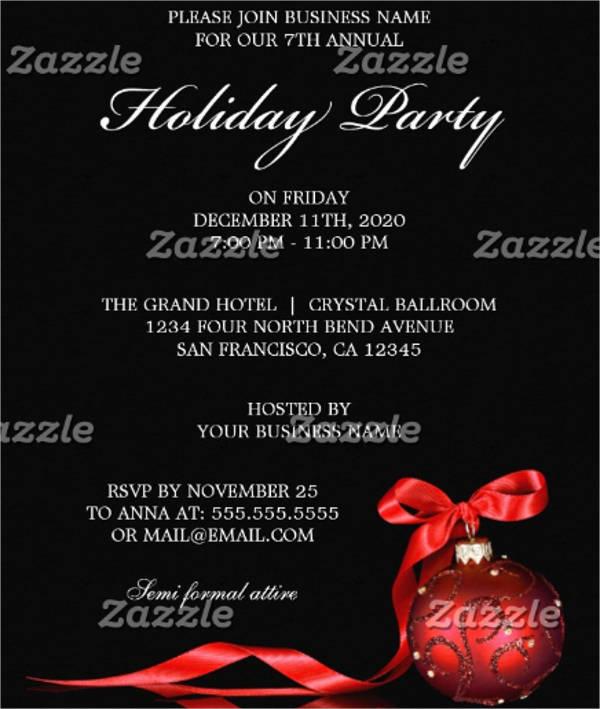 formal holiday event invitation