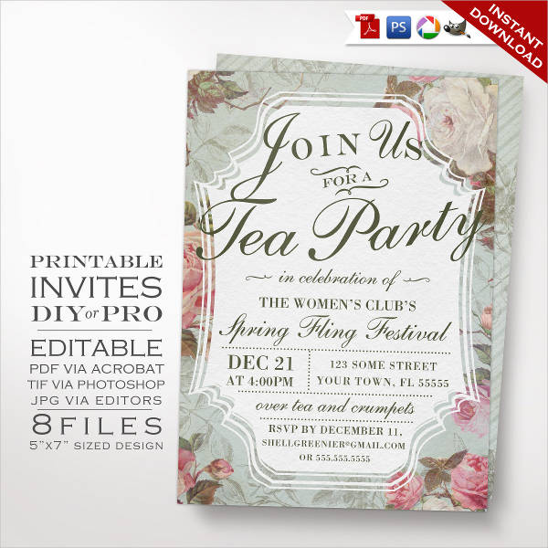 formal tea party event invitation