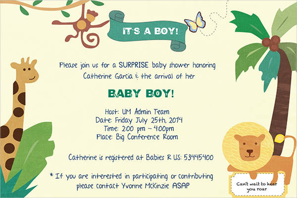 free baby shower jungle invitation template